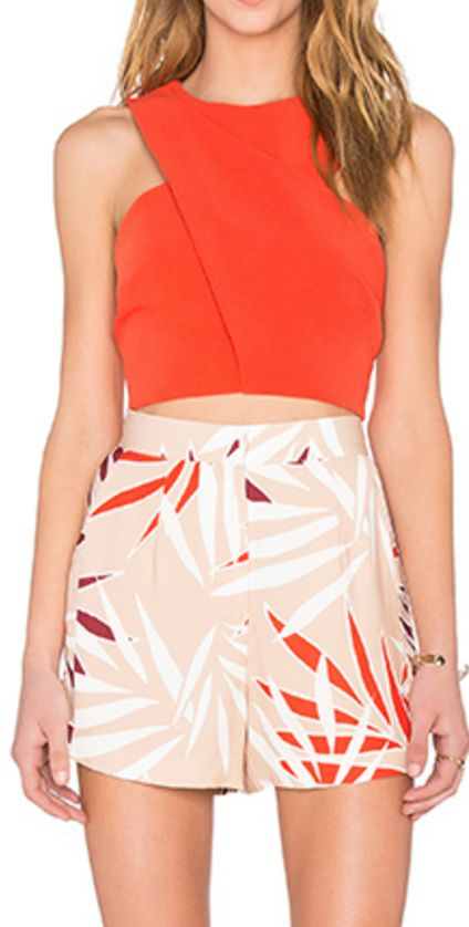 Minimal Tropical Print Shorts in Peach, White, and Orange