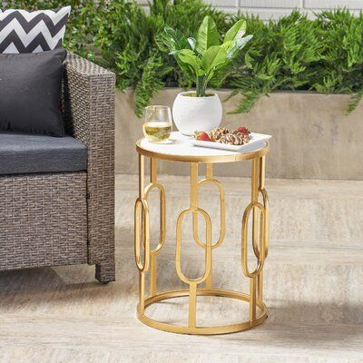 Mercer41 Hollen Stone Concrete Side Table In 2020 Side Table Stone Table Top Geometric Side Table