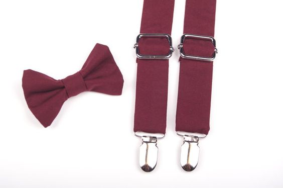 Eggplant Bow Tie & Suspenders Set in pantone color of the year Marsala great for ring bearer and groomsmen or even the groom!: