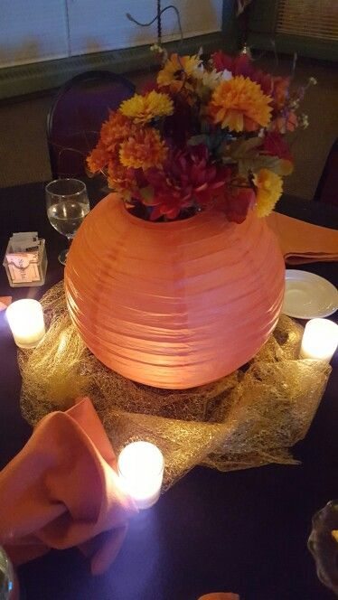 Chinese paper lantern centerpieces with fall flowers for Angela florist decoration