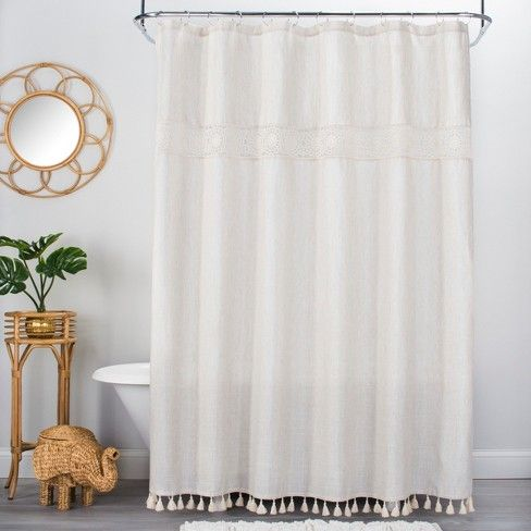 25 Solid Crochet With Tassels Shower Curtain White Opalhouse