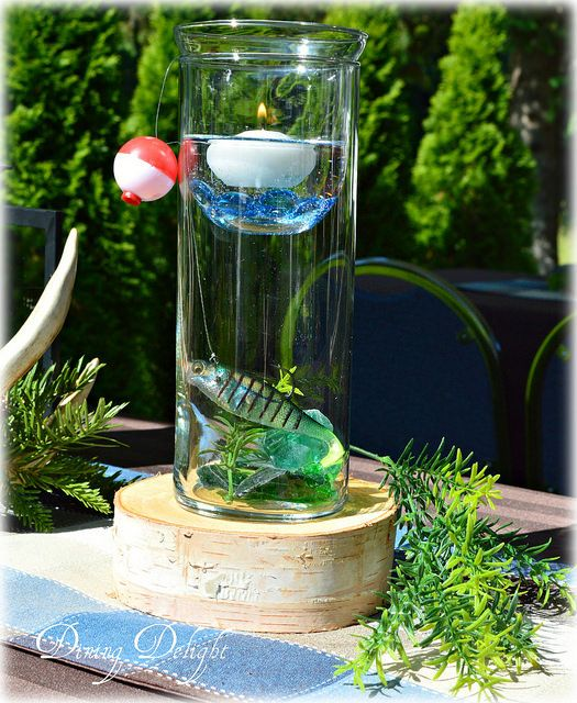 Dining delight fishing themed centerpiece summer for Fish wedding centerpieces