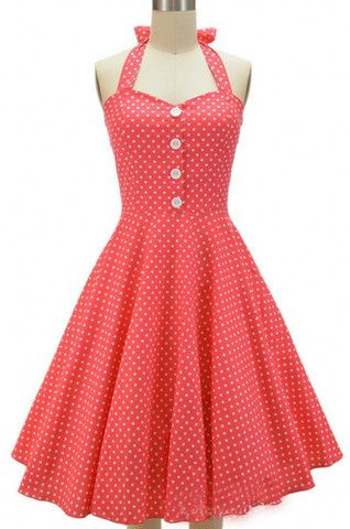 Red Long Polka Dot Vintage Dress: