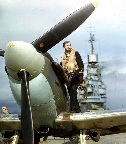 WW2  Seafire-pilot. Archival still of H.M.S. Indomitable seafire pilot waiting for his next action against the Japanese.  The Seafire was a naval version of the Spitfire.