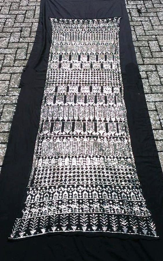 Beautiful 1920s Assuit shawl with geometric and figural patterns. 21stCenturyVamp