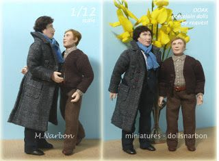 "porcelain dolls scale 1/12, made by request ""Sherlock and John"""