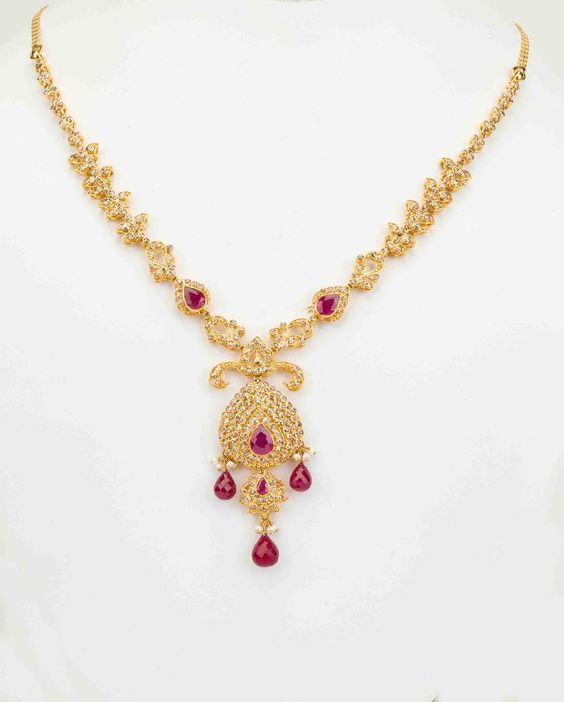 Indian Jewellery And Clothing Polki Necklace Sets From: Uncut Polki Necklace Sets (22 Kt),