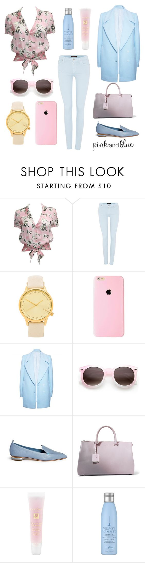 """pink and blue"" by gemmabroomx ❤ liked on Polyvore featuring Karl Lagerfeld, 7 For All Mankind, Komono, FAIR+true, Nicholas Kirkwood, Jil Sander, Lancôme, Drybar, women's clothing and women"