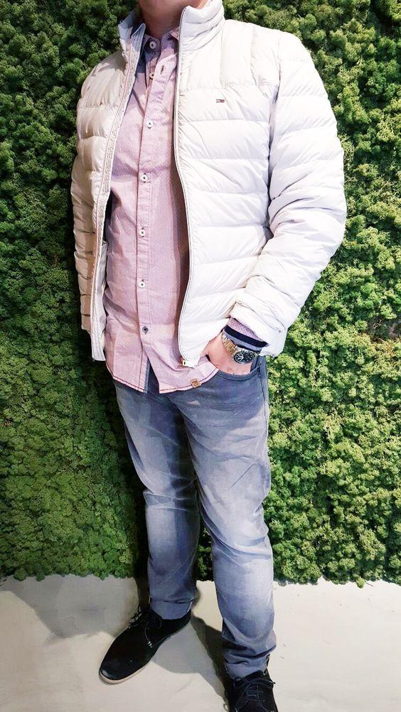 Outfit der Woche! stretchige Jeans im Vintage Look & fein gemustertes Chambray-Hemd: PME Legend – Steppjacke: Hilfiger Denim #fashion #ootw