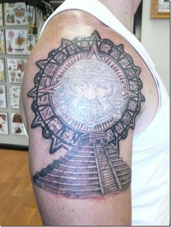 Aztec Pyramids Tattoo : aztec, pyramids, tattoo, Distinctive, Aztec, Tattoos, Males, Tattoos,, Guys,, Pyramid, Tattoo