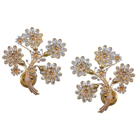 Italian Floral Crystal Sconces   From a unique collection of antique and modern wall lights and sconces at https://www.1stdibs.com/furniture/lighting/sconces-wall-lights/