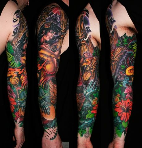 Cameron 39 s hula sleeve deadly tattoo calgary ab tattoo for Tropical themed tattoos