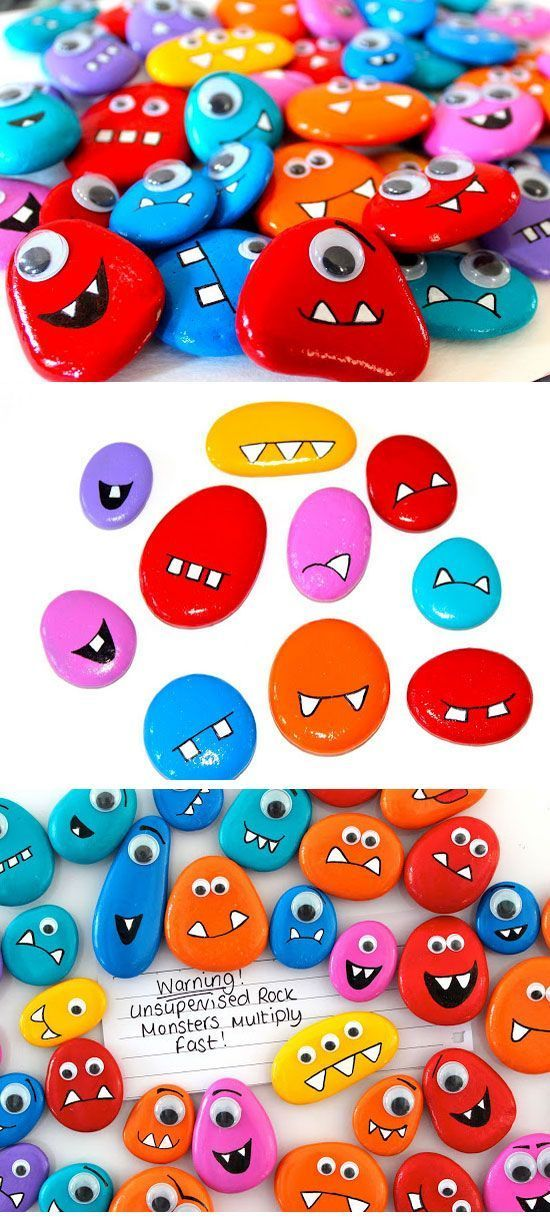 Rock Monster Magnets | Click Pic for 19 DIY Summer Crafts for Kids to Make | Easy Summer Activities for Kids Outside: