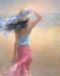 I absolutely LOVE this painting of the woman holding her hat in the breeze at the beach. Will frame this one!: