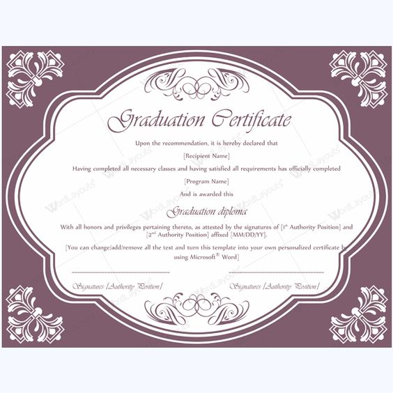13 best Graduation Certificate Templates images on Pinterest - certificate of recommendation sample