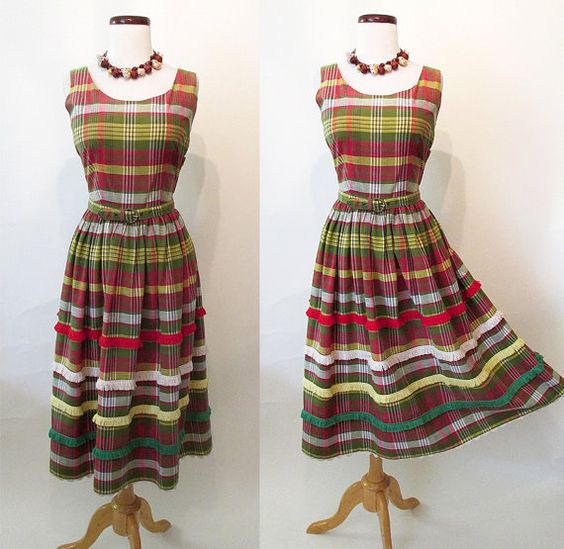 CLEARANCE Too Cute for Words 1950's Plaid Sundress with Fringe Detail and  Belt…