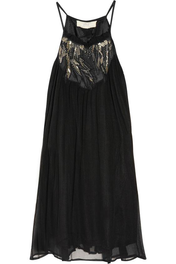 Embellished silk-chiffon dress by Vanessa Bruno Athé; color: black. original 335 now $117.25