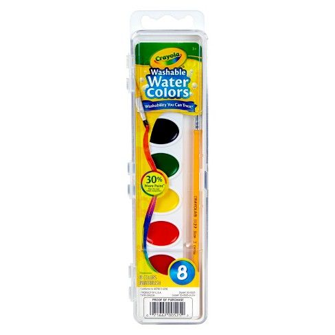 Crayola Watercolor Paints With Brush Washable 8ct Watercolor