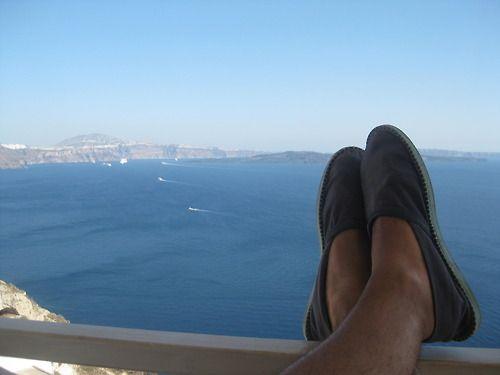One Year Ago.Hubby in Havaianas espadrilles on the Honeymoon.Santorini, Greece