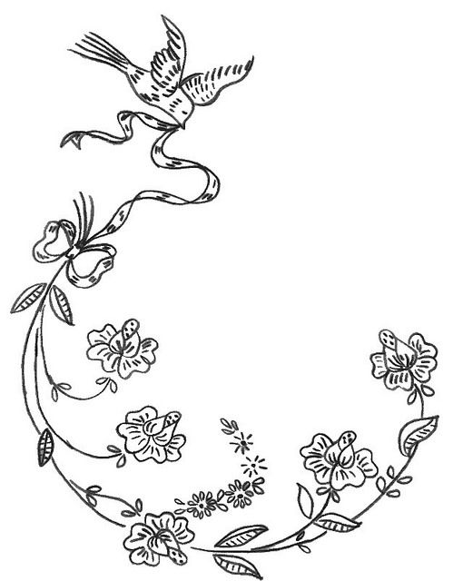 vintage dresser scarf embroidery pattern tracing