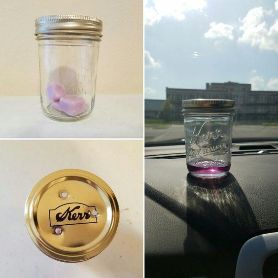 Homemade car air freshener, glass jar with wax melts