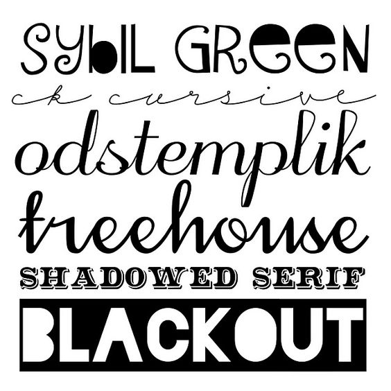 The sybil green font caught my eye right away. I also really like treehouse and shadowed serif.