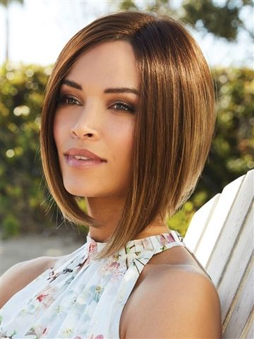 Marley XO Plus Wig by Amore: Dramatic a-line bob with a long fringe and tapered nape.
