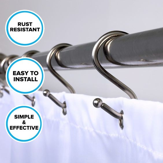 Nickel Shower Curtain Hooks: 12 Rust Resistant Simple Shower