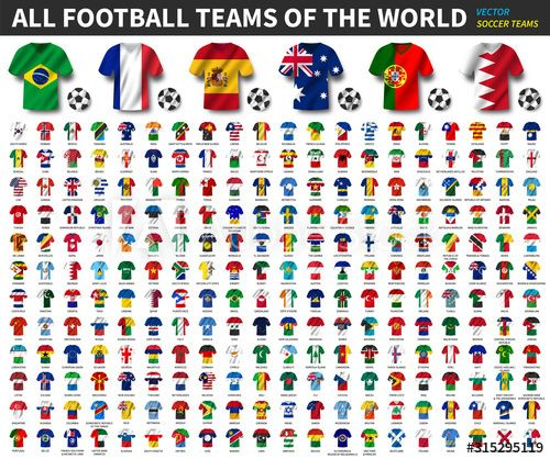 All National Flags Of The World National Waving Jersey Soccer Teams With Country Flag Pattern Vector In 2020 National Flag All National Flags Flags Of The World