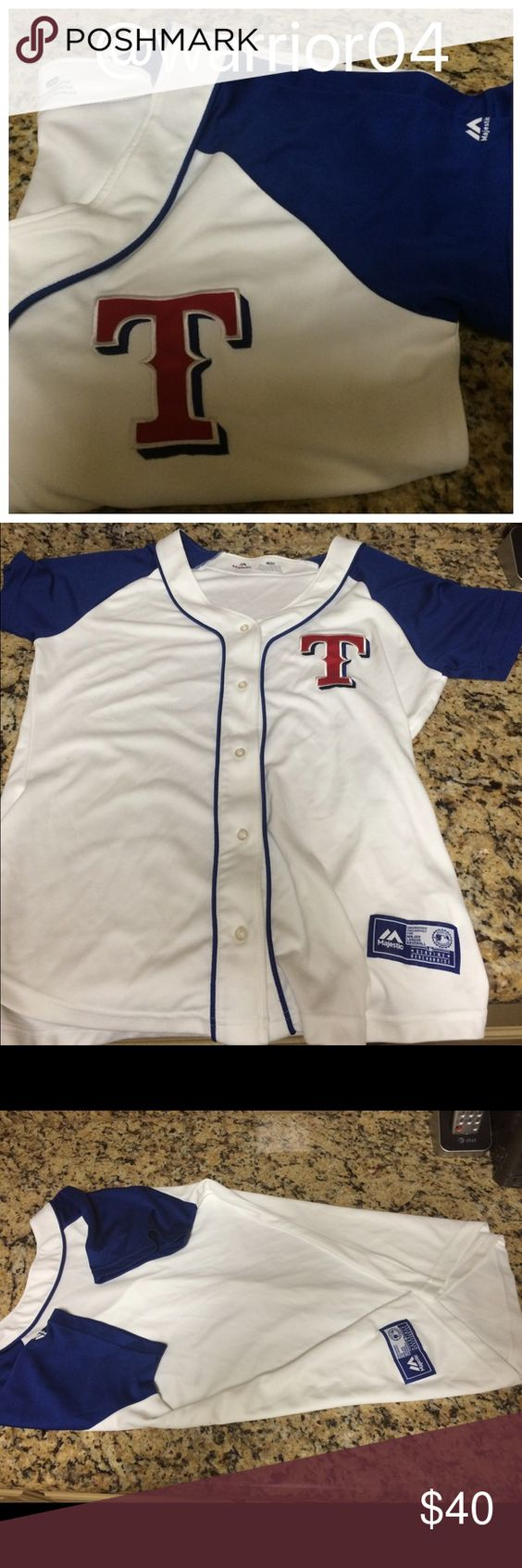 Majestic Texas Rangers Jersey Size Large Majestic Texas Rangers Jersey Size Large worn once to a Texas Rangers Suite, soft material colors are red white blue Majestic Tops