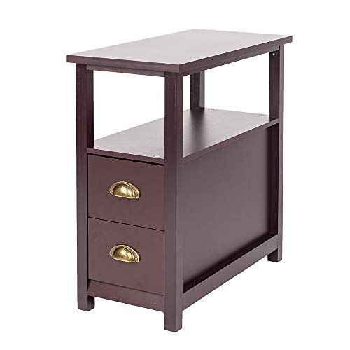 Little Tomato Chairside End Table With 2 Drawer And Shelf Narrow Nightstand F Living Room End Tables Side Tables Bedroom Modern Furniture Living Room