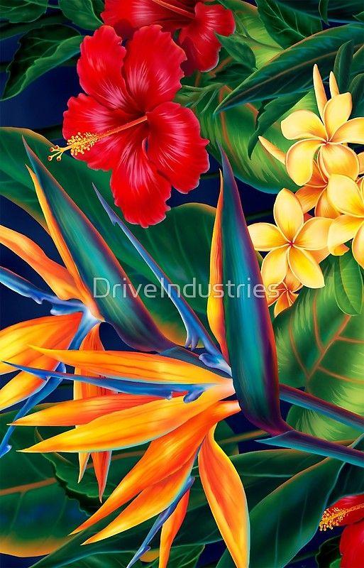 Tropical Paradise Hawaiian Birds Of Paradise Illustration Iphone Case By Driveindustries Acrylic Painting Flowers Tropical Art Hawaiian Art