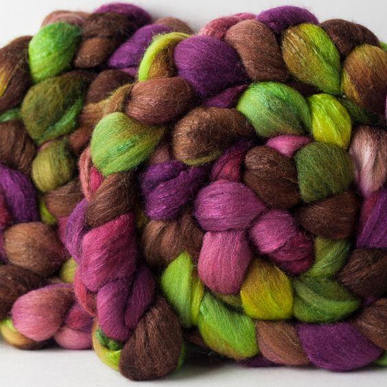 Targhee/silk spinning fiber: Winesap, 4 oz