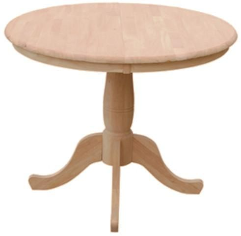 36 Round Hardwood Dining Table With Leaf Extends To 48 Round Pedestal Dining Extension Dining Table Round Pedestal Dining Table 36 round dining table