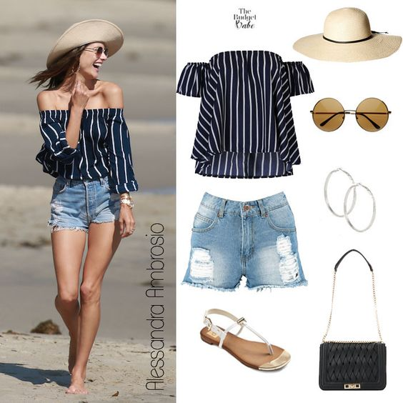 Beach Beauty: Alessandra Ambrosio's Navy Bardot Top and Destroyed Denim Shorts - The Budget Babe   Affordable Fashion & Style Blog