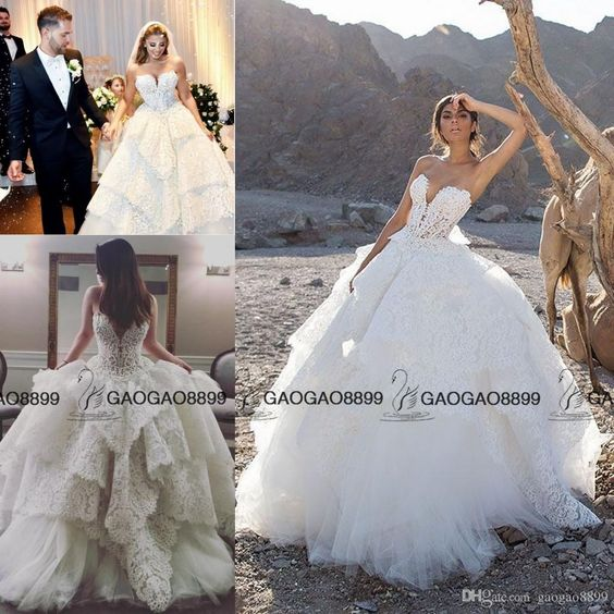 Pnina Tornai 2017 Strapless Lace Pearls Ball Gown Wedding Dresses Tiered Skirts Princess Garden Plus Size Corset Lace Up Bridal Dress Cheap Bride Dresses Christian Wedding Dresses From Gaogao8899, $165.83| Dhgate.Com