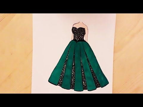 رسم فستان سهل جدا فستان أخضر للسهرة X2f How To Draw A Beautiful Dress Easy Youtube Fashion Drawing Aurora Sleeping Beauty Embroidery Designs