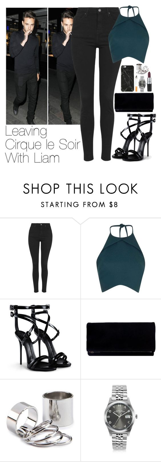 """Leaving Cirque le Soir With Liam"" by zarryalmighty ❤ liked on Polyvore featuring Payne, Topshop, Rebson, Giuseppe Zanotti, M.A.C, Forum, Marc by Marc Jacobs, OneDirection, LiamPayne and onedirectionoutfits"