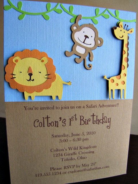 Lettering Delights - Jungle Party Invitation Silhouette Cameo - birthday invitation homemade