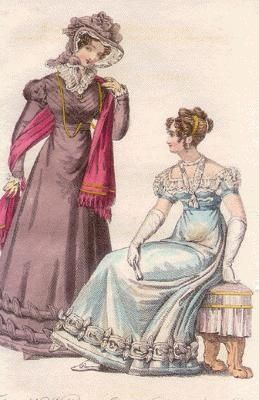 This site discusses fashion from the 1830s-1850s, noting that women spent much time planning, sewing, and changing their many layers of clothing -- and that fashion changed quickly. bluebethley