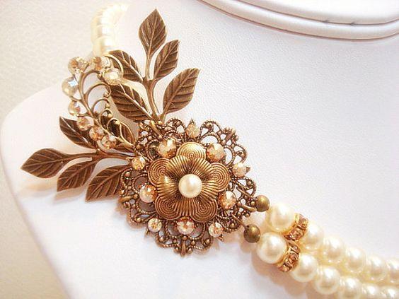 Antigua collar de oro collar de la boda de perla por treasures570