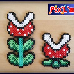 Art pixel art and perles on pinterest for Plante mario