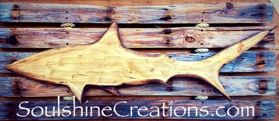 "Shark offset on reclaimed wood back 48"" x 30"". SOLD"
