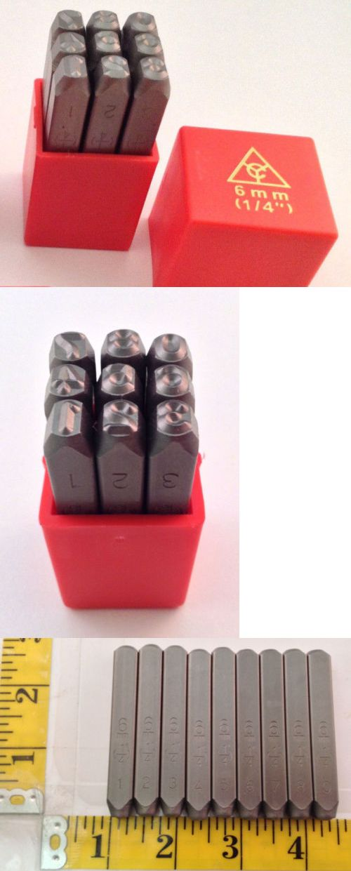"""9pc 1//4/"""" STEEL METAL PUNCH NUMBER STAMP STAMPING SET PLASTIC CASE NUMBER PUNCH"""