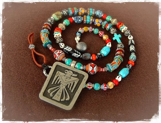 Created to empower ones Spirit ......    Featuring a gorgeous double sided vintage THUNDERBIRD pendant (1950s)  by Bell Trading post. Its from the