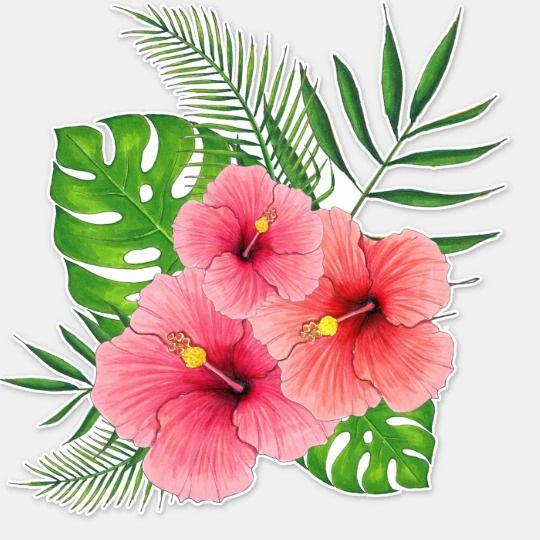 Tropical Hibiscus Arrangement Sticker Zazzle Com Hibiscus Flower Drawing Flower Art Hawaiian Flower Drawing