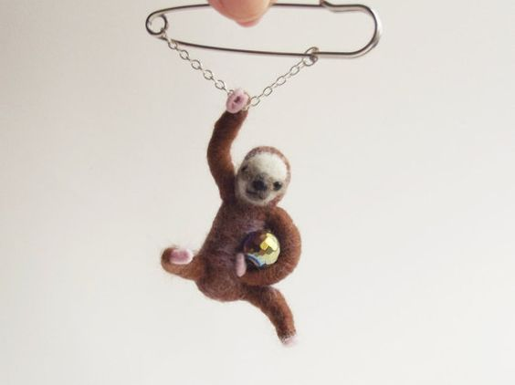Hanging Sloth with disco ball Sloth by ShishLOOKdesign on Etsy
