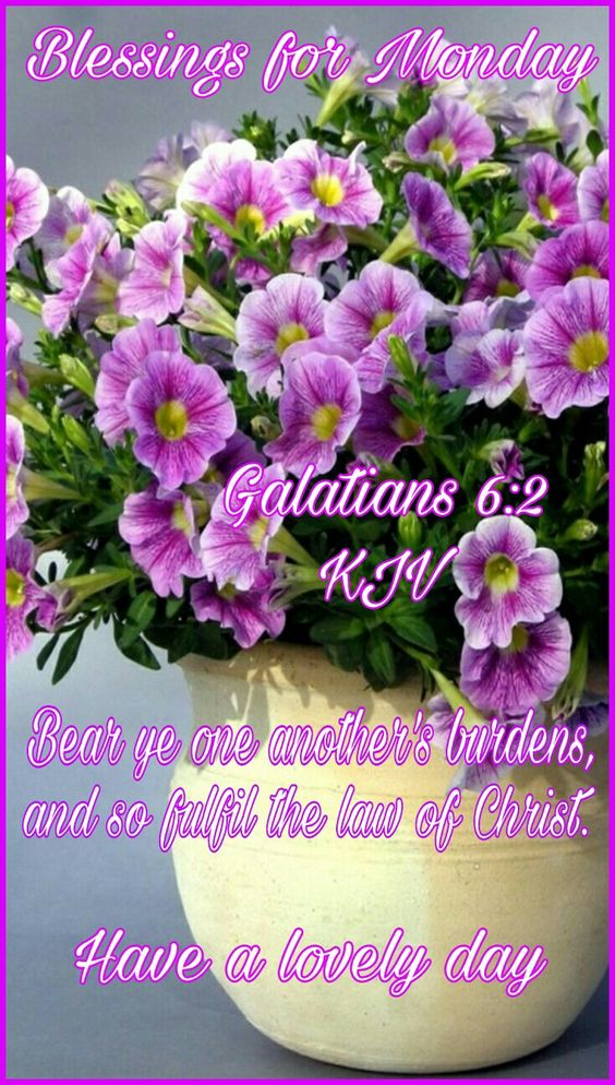 "BLESSINGS FOR MONDAY: Galatians 6:2 (1611 KJV !!!!) "" Bear ye one another's burdens, and so fulfil the law of Christ. HAVE A LOVELY DAY !!!!"