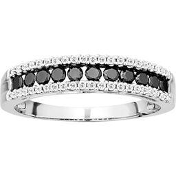 10K 1/2 ct. TDW Black and White Diamond Ring