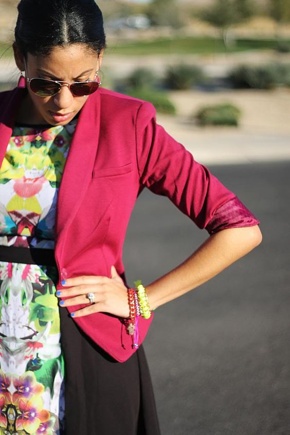 colorful outfit inspo, colored blazer